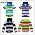 2-7 лет мальчики С Длинным рукавом футболки мужской ребенок Дети Одежда Тис полосатый полосы дети приспешников одежда радуга 1046