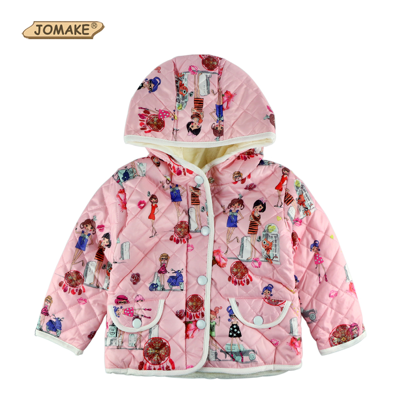 Cartoon Pattern Baby Girl Coat Toddler Parkas Kids Clothes Children Thick Warm Outerwear&Coats Winter Jacket For Girls Clothing free shipping children outerwear baby girl clothes baby born costume fleece topolino cute toddler girl clothes cheap baby cloth