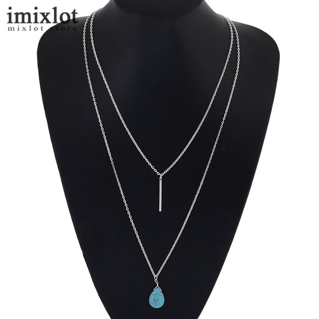 Imixlot steampunk vintage 2 layer blue stone pendants choker imixlot steampunk vintage 2 layer blue stone pendants choker necklaces strip bar necklace for women jewelry aloadofball Image collections