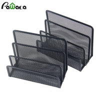 2PCS Desktop File Holder Metal Mesh Right Hand File Box Block Data Rack Document File Bar