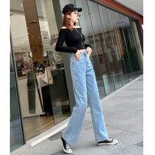 JUJULAND 2019 women denim pants blue high waist jeans woman casual vintage boyfriend mom korean fashion streetwear 806