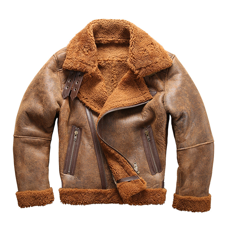 2018 european size high quality super warm genuine sheep leather jacket mens big size B3 shearling bomber military fur jacket