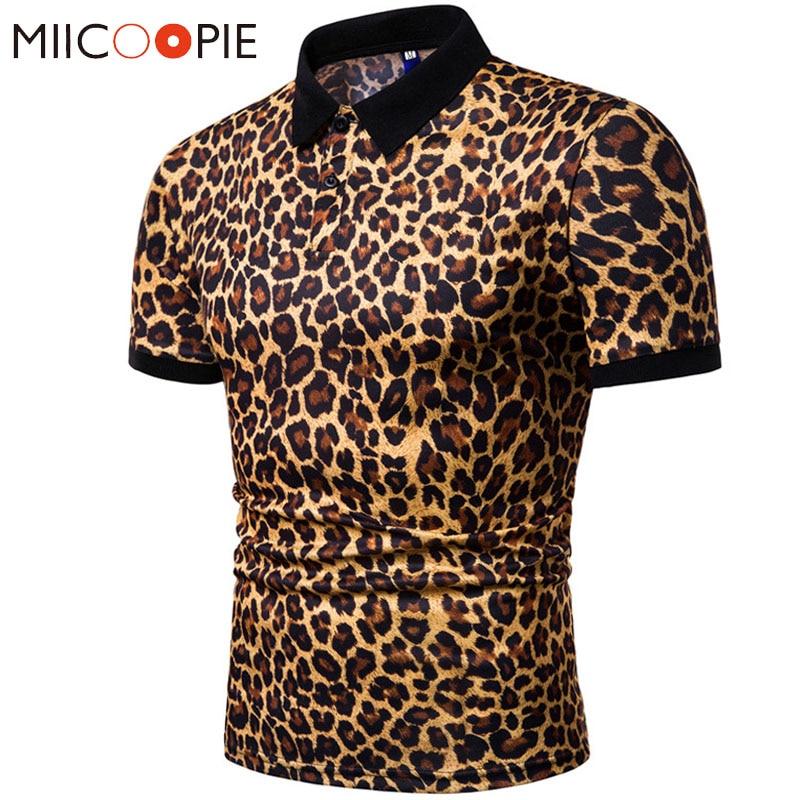 2019 Summer Mens   Polo   Shirt Brands Night Club Leopard Printed Turn Down Collar Short Sleeve Male   Polo   Homme Tees Tops M-XXXL