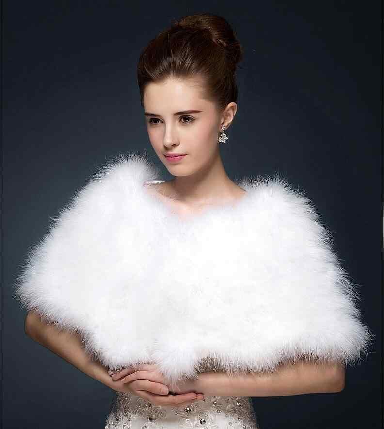 JaneVini นกกระจอกเทศ Feather เจ้าสาวผ้าคลุมไหล่ขนสัตว์ไหล่สีกากีสีขาวฤดูหนาว Faux Fur งานแต่งงาน Cape ชุดราตรี Etole Fourrure