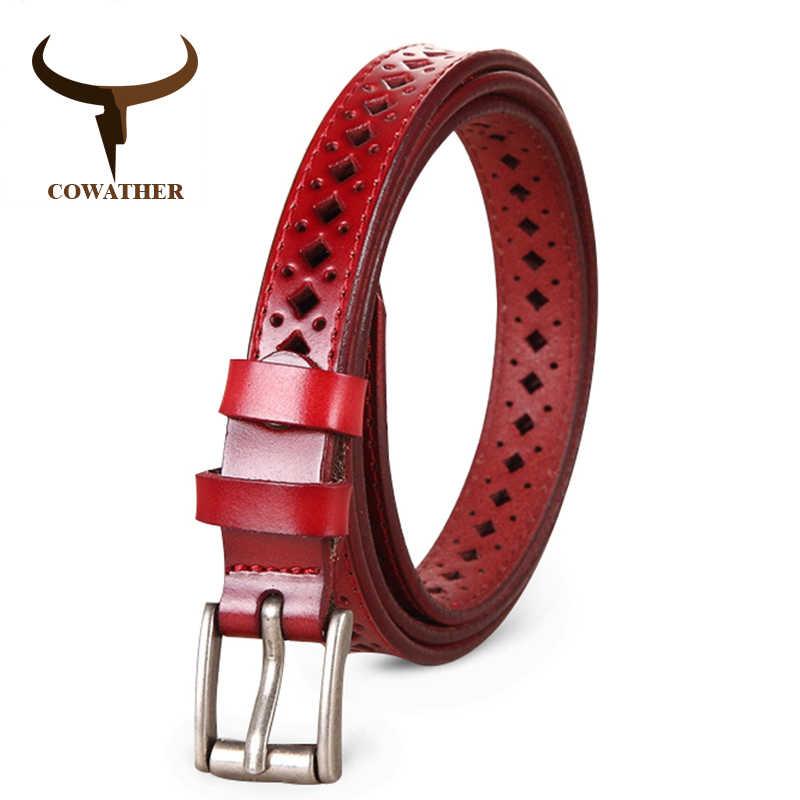 COWATHER 2018 Good Women <b>belts</b> cow genuine <b>leather</b> pin ...