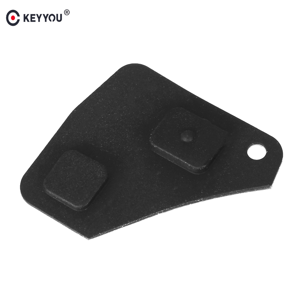 KEYYOU 2X 2 Buttons Replacement Remote Car Key Fob Black Silicon Rubber Button Pad For Toyota Avensis Corolla For Lexus Rav4