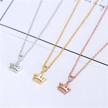 luxury trendy wedding engagement sliver rose gold pendant necklace queen crown 925 sterling sliver necklace women female PL360(China)