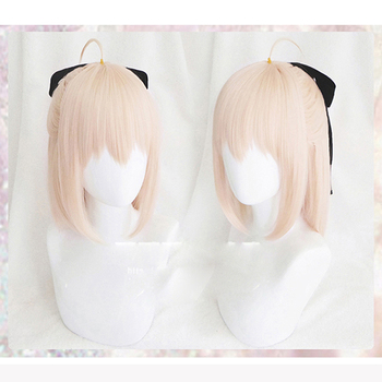 Anime Fate Grand Order Sakura Saber Okita Souji Wig Cosplay Costume Fate Go Women Short Synthetic Hair Halloween Party Wigs game fate grand order cosplay costumes okita souji cosplay costume kimono halloween carnival party anime women cosplay costume