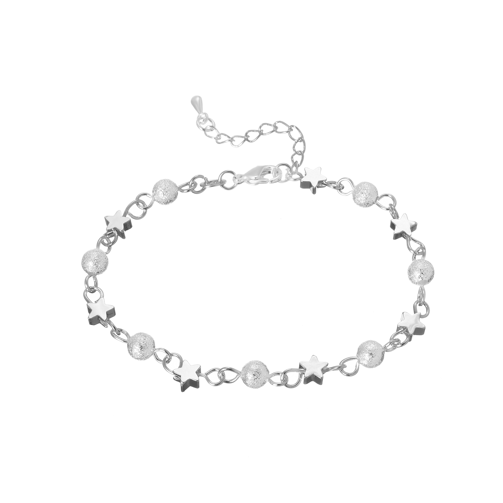 Silver Bracelet Women Summer Fashion Scrub Star Beads ...