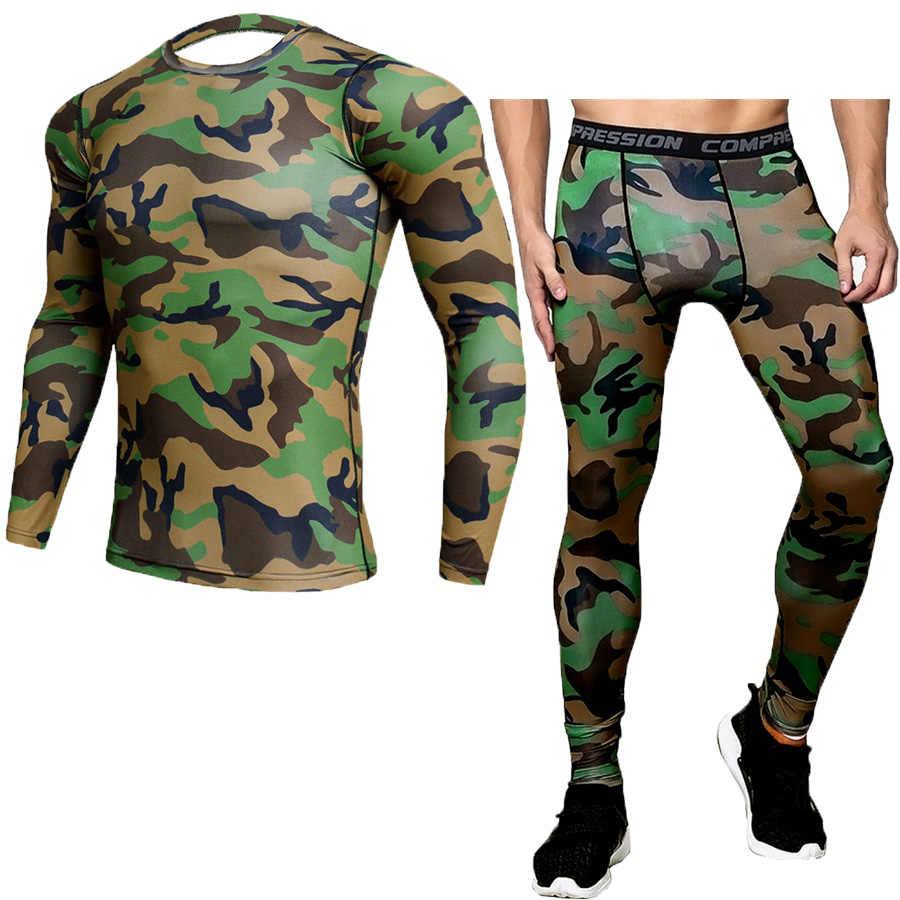MMA Rashgard Camo Sport Bộ Chạy Áo Chạy Bộ Xà Cạp Phòng Tập Quần Áo Thể Dục Thể Hình Khô Nhanh Chóng Thiết Lập Compression Shirt