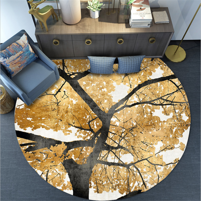 Vintage Golden Yellow Leaves Round Rug Carpets For Living Room Coffee Table Floor Mats  Geometric Kids Play Game Mats