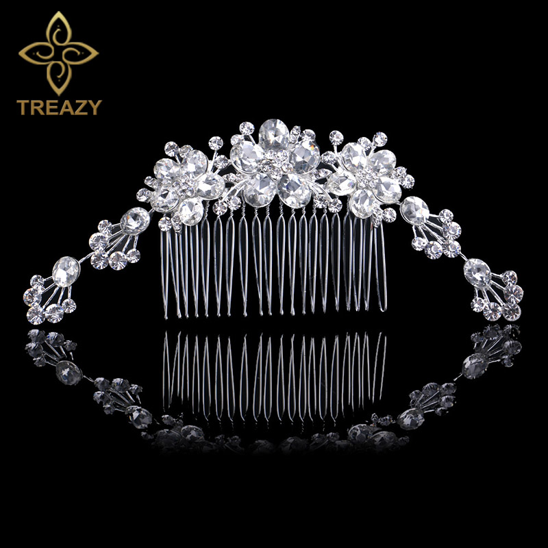 TREZY Austrian Crystal Bridal Hair Combs Bride Flower Hairpins Stunning Silver Color Wedding Tiara Hair Jewelry Hair Accessories
