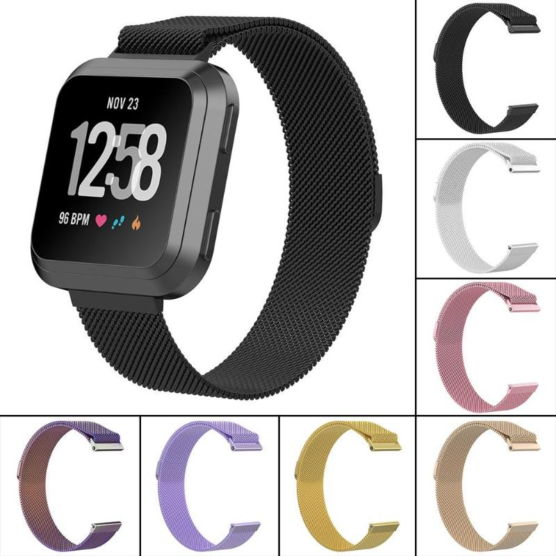 1Pc Milanese Magnetic Loop Stainless Steel Band Strap for Fitbit Versa Watch Wristband Replacement Link Bracelet Smartwatch Band