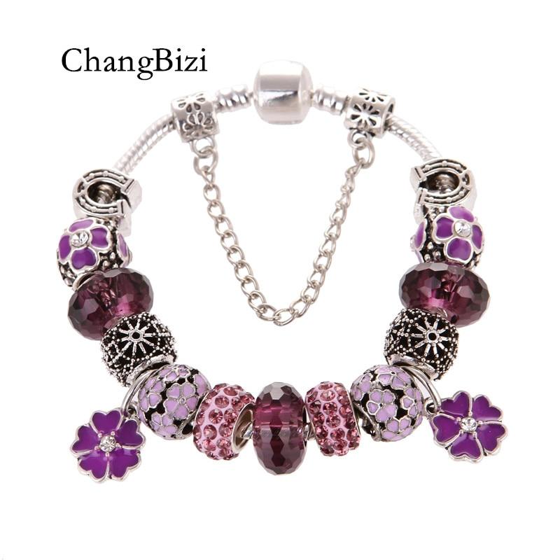 European Style Silver Flower Pendant Purple Crystal Fashion DIY Elegant Charms Pandora Bracelets & Bangles For Women Gift