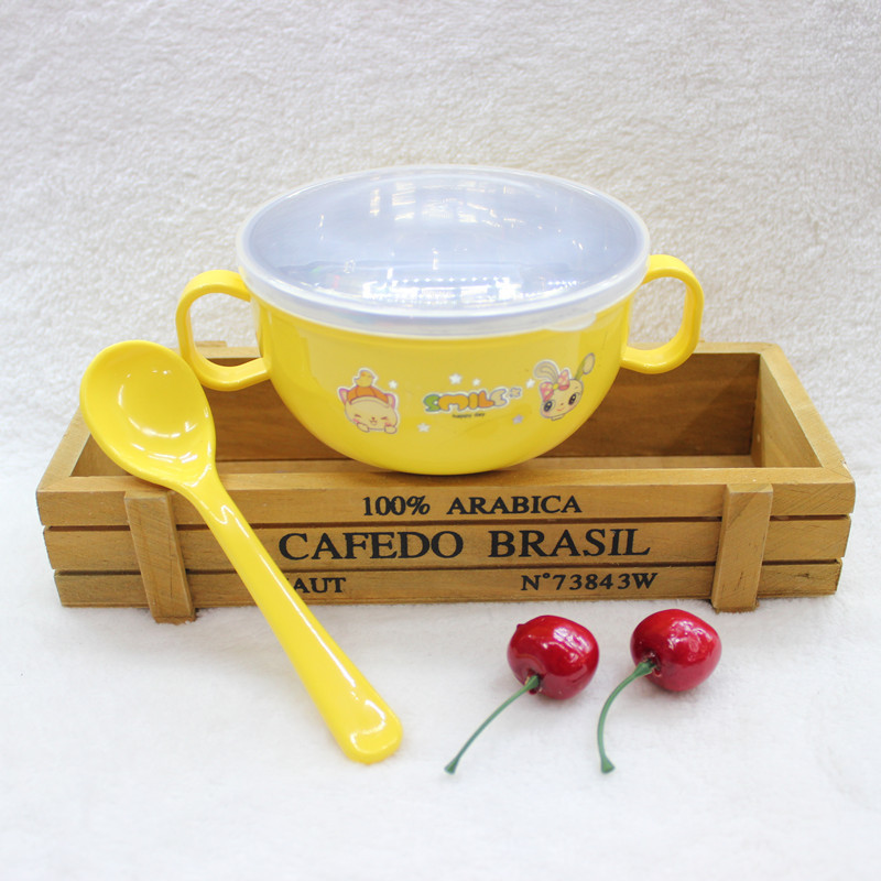 Купить с кэшбэком 3 Color Cute Stainless Steel Baby Bowl Food Container Children Tableware Dinner Eating Set Baby Bowl Spoon Baby Bowl Set