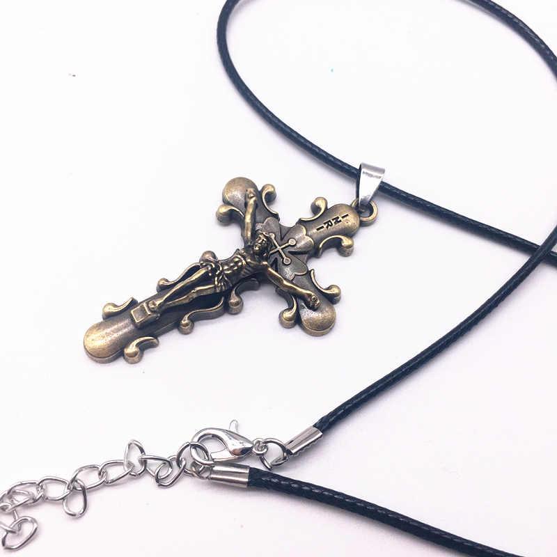 Moda krzyż wisiorek mężczyzna naszyjnik ze stali nierdzewnej skórzany łańcuch liny czarny pistolet, antyczny brąz kolor biżuteria prezent