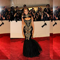 2017 Hot Sexy Vestidos de Noche Beyonce Gala Negro Y Oro Bordado Con Cuentas de Alta Cuello Piso-Longitud de La Sirena Vestidos de La Celebridad QA114