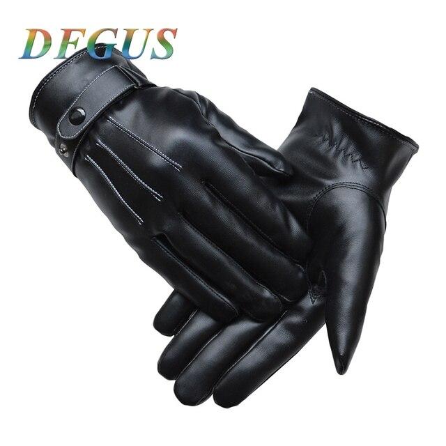 b2f449bebe0ace Męska klasyczne czarne zimowe rękawice skórzane rękawice do smartfona  dotykowy rękawice do ekranu męskie sportowe na