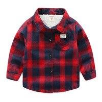 2018 Sonbahar Kış Erkek Gömlek Uzun Kollu Pamuklu Çocuk erkek çocuklar için tişörtler Kalın Polar Sıcak Ekose Gömlek BC400