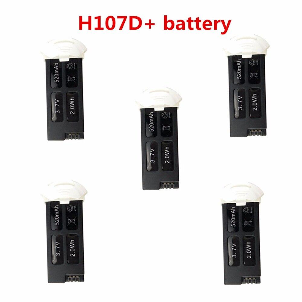 Pièces de batterie d'hélicoptère télécommandé 5 pcs batteries au lithium 3.7 V 520 mah pour Hubsan FPV X4 PLUS H107D +