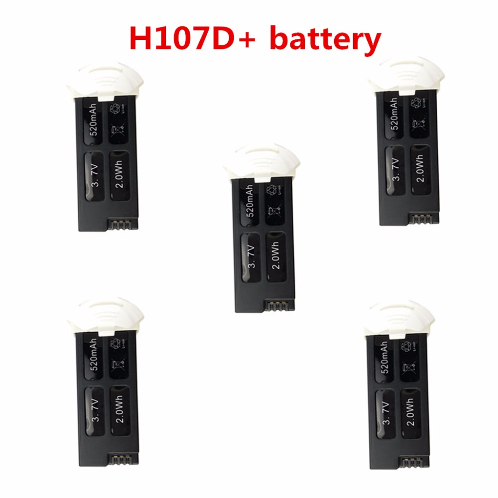Remote Control Helicopter Battery Parts Parts 5PCS lithium batteries 3.7V 520mah For Hubsan FPV X4 PLUS H107D +