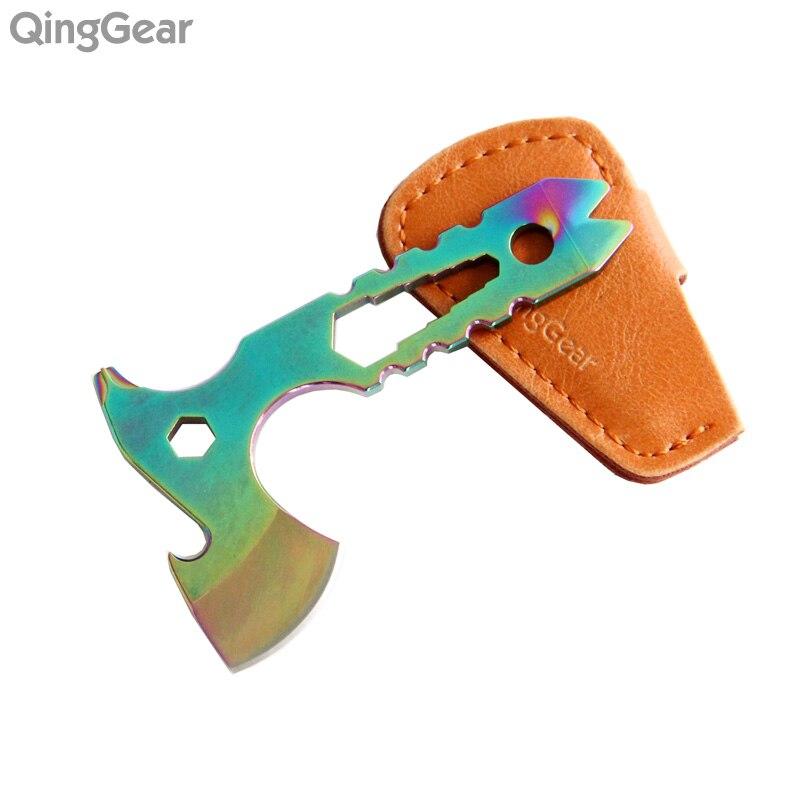 Qinggear pescoço machado mini multi-ferramenta faca extrator de unhas mini prybar chave de fenda abridor de garrafa com bainha de couro frete grátis