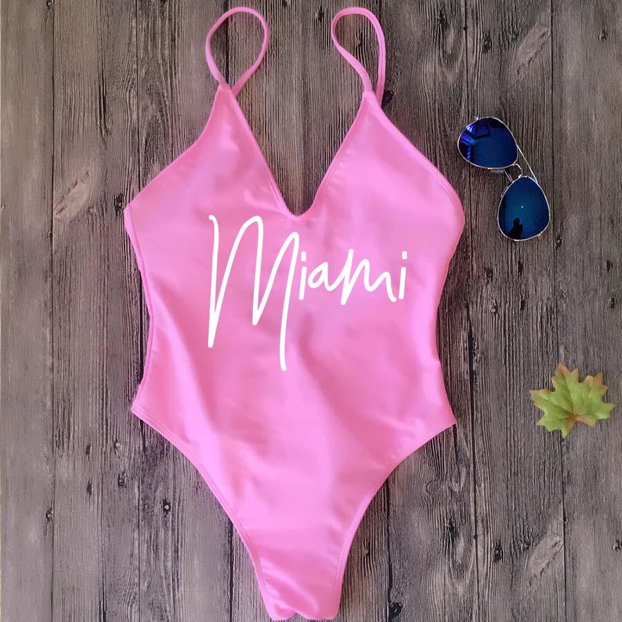 Costume da bagno intero Sexy imbottito perizoma femminile Miami HOLA spiagge costumi da bagno fusi da donna Backless Bather Monokini Beachwear