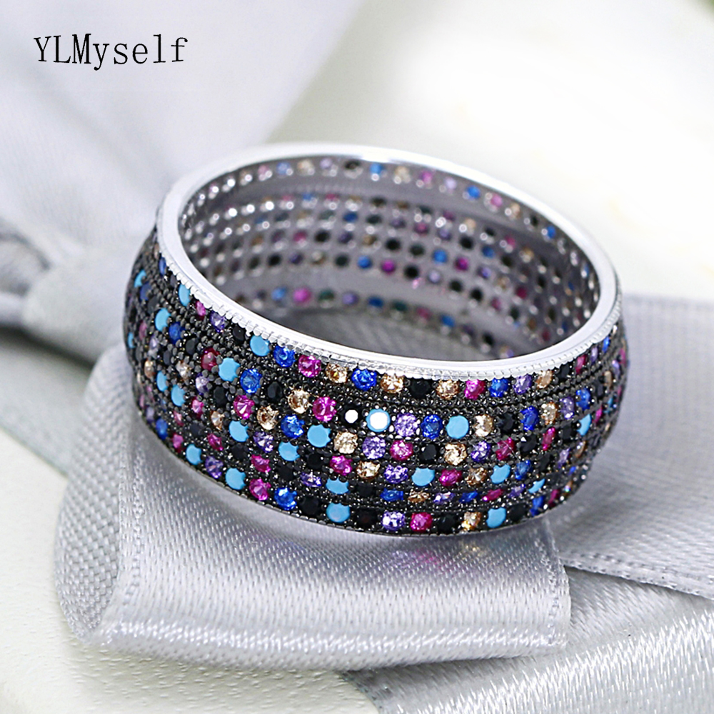 2019 new Real 925 sterling silver metal ring Gorgeous multi Color cubic zirconia crystal trendy jewelry Pretty rings for women