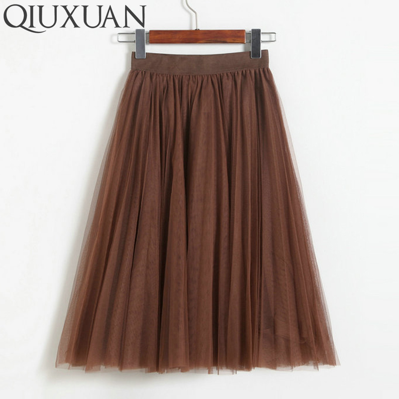 QIUXUAN 11 Colors Sweet Multi layer Ball Gown Skirt Elastic Waist Women Skirts High Waist Knee