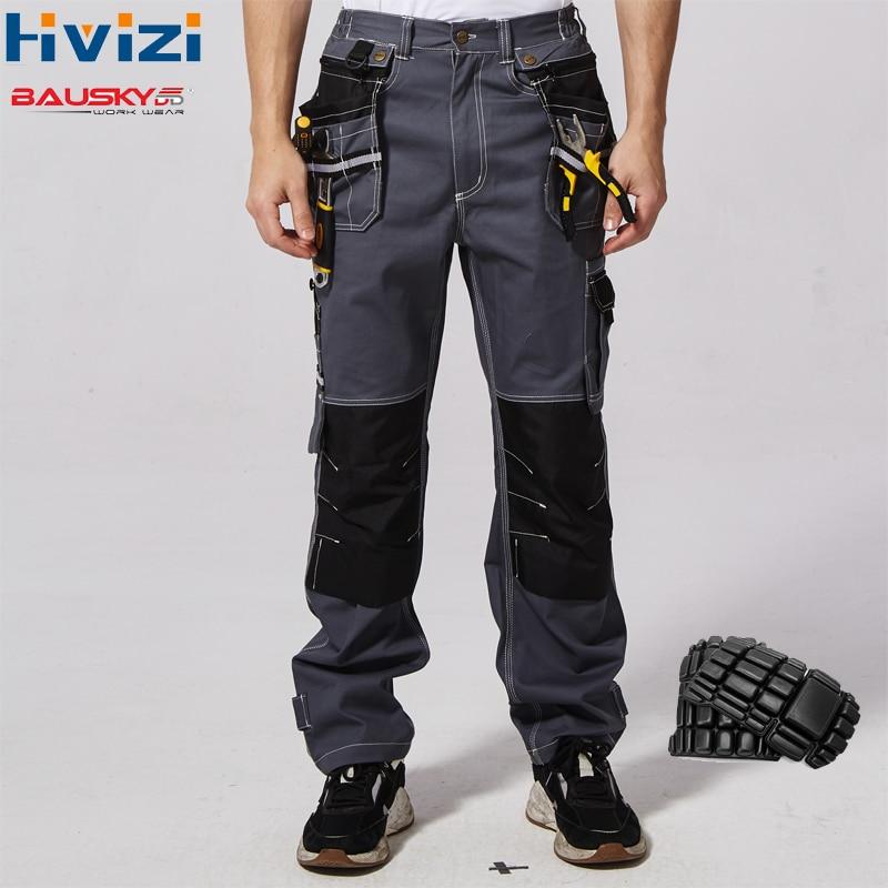 Vêtements de travail pour hommes vêtements de sécurité pantalons pantalons multi-fonction outils poches 100% coton mécanicien combinaisons genouillères B111