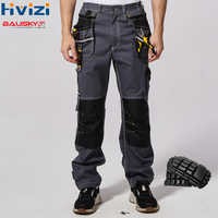 work wear men's safety clothing pants trousers multi-function tool pockets 100% cotton mechanic overalls knee pads B111