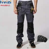 Arbeit tragen männer sicherheit kleidung hosen hosen multi-funktion werkzeug taschen 100% baumwolle mechaniker overalls knie pads B111