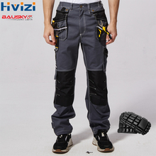 цена на work wear men's safety clothing pants trousers multi-function tool pockets 100% cotton mechanic overalls knee pads B111