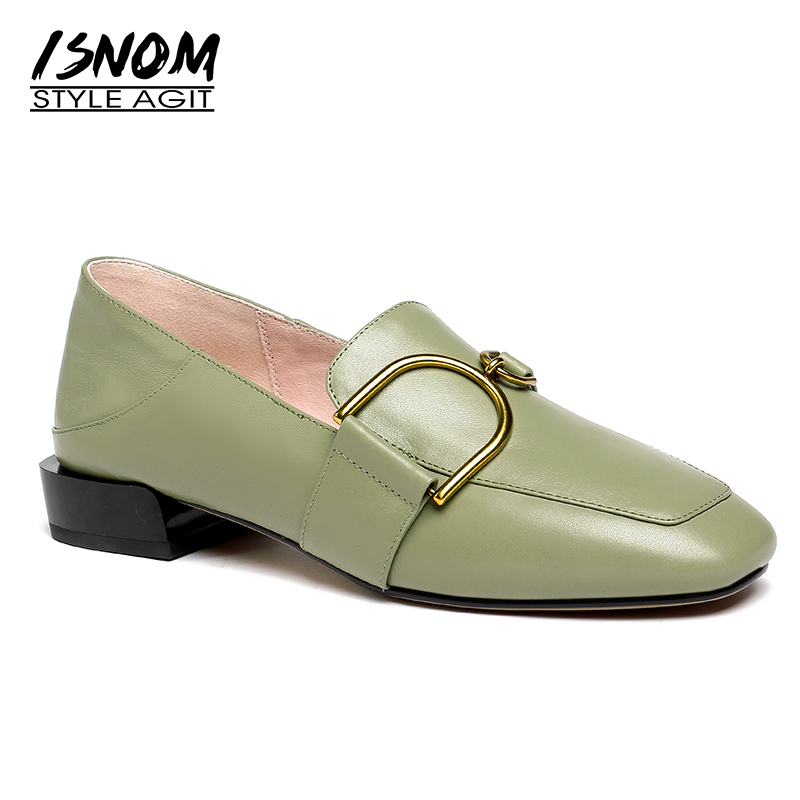 ISNOM Women's Leather Shoes Casual Loafers Women Flats Slip On Square Toe Mules Buckle Genuine Leather Ladies Shoes Moccasins