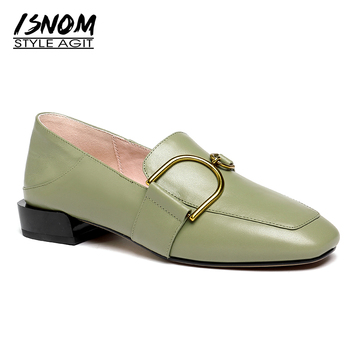 цена на ISNOM Women's Leather Shoes Casual Loafers Women Flats Slip On Square Toe Mules Buckle Genuine Leather Ladies Shoes Moccasins