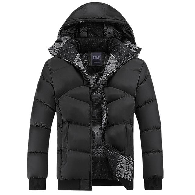 Casaco de inverno Homens Casuais Jaqueta Corta-vento com capuz pato jaquetas mens casacos de inverno e casacos de algodão acolchoado quente grosso Casaco