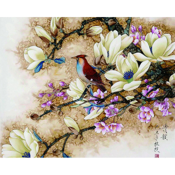 Ruopoty diy 프레임 조류 꽃 diy 그림 번호로 서 예 회화 현대 벽 아트 캔버스 홈 decors 아트웍 40x50