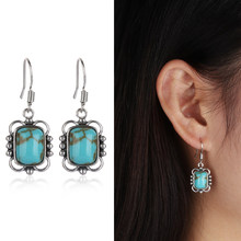 1 Pair 925 Sterling Retro Thai Silver Hook Dangle Stud Vintage Earring Party Gifts Ethnic Women Jewelry(China)