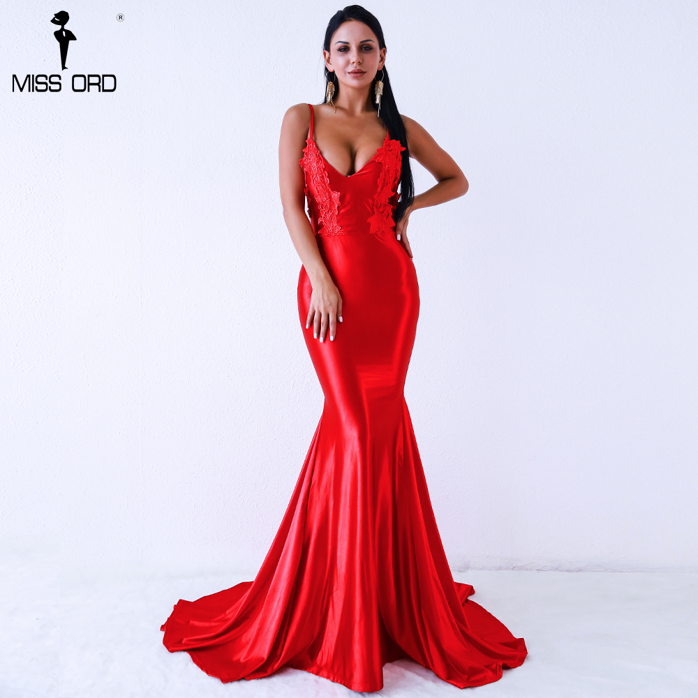 Missord 2018 Sexy V-neck sleeveless  backless red/blue  color  maxi  party   dress FT8217-3