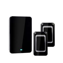 2017 LED 28 Chimes Home Waterproof Doorbell EU Plug-in Wireless Door Bell With 2 Push Button Transimitter+1 Doorbells Receiver
