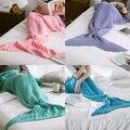 Hot Sale Autumn Winter Super Soft Hand Crocheted Mermaid Tail Blanket Sofa Blanket Kids Sleeping Bags
