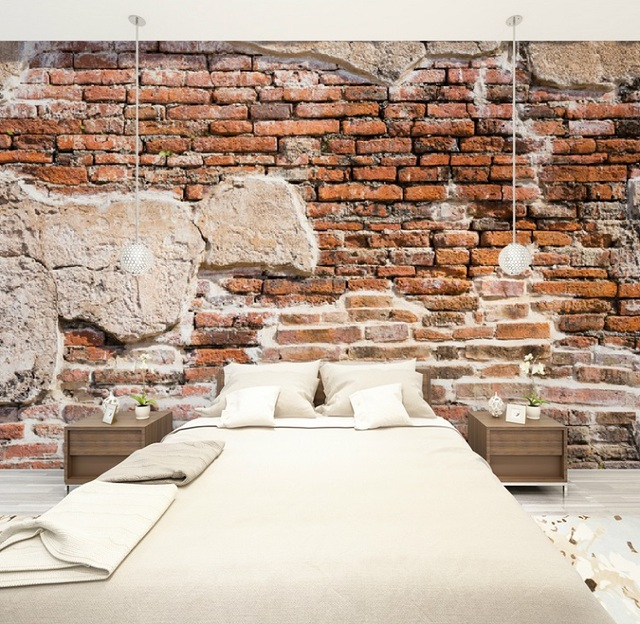 custom size 3d photo mural wall sticker ancient brick wall removable