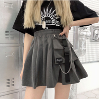 Женская уличная мини-юбка, с большим карманом, серая, а-силуэта, с высокой талией и цепочкой, в стиле панк, хип-хоп, Харадзюку, женские юбки в с...