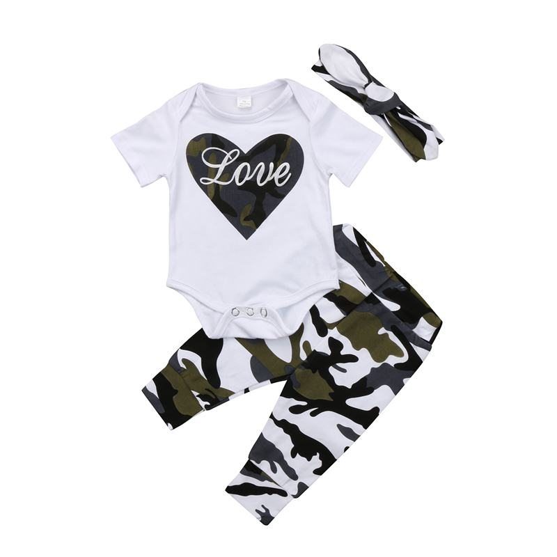 New Casual Cute Newborn Toddler Baby Girls Clothes Tops Romper Camouflage Long Pants Outfits Clothes Headband 3Pcs Set