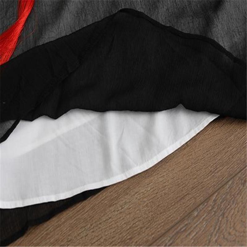 e65e64994aac1c BUYKUD Summer Women Long Fake Two-piece Dress RetroTassel Black Dresses  Round Neck Three Quarter ...
