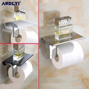 Image 4 - Multiple Colors Toilet Paper Holder Wall Mount Tissue Roll Hanger 304 Stainless Steel Phone Platform Bathroom Hardware Set