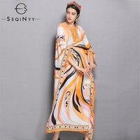 SEQINYY Vintage Print Dresses 2018 Autumn Winter New Fashion Loose Batwing Sleeve Plus XXL Abstract Split High End Long Dresses