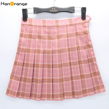 HanOrange Preppy Style High Waist College Pleated Tennis Girls Plaid Skirts with Safety Pant Pink/Gray/Black XS/S/M/L/XL/XXL