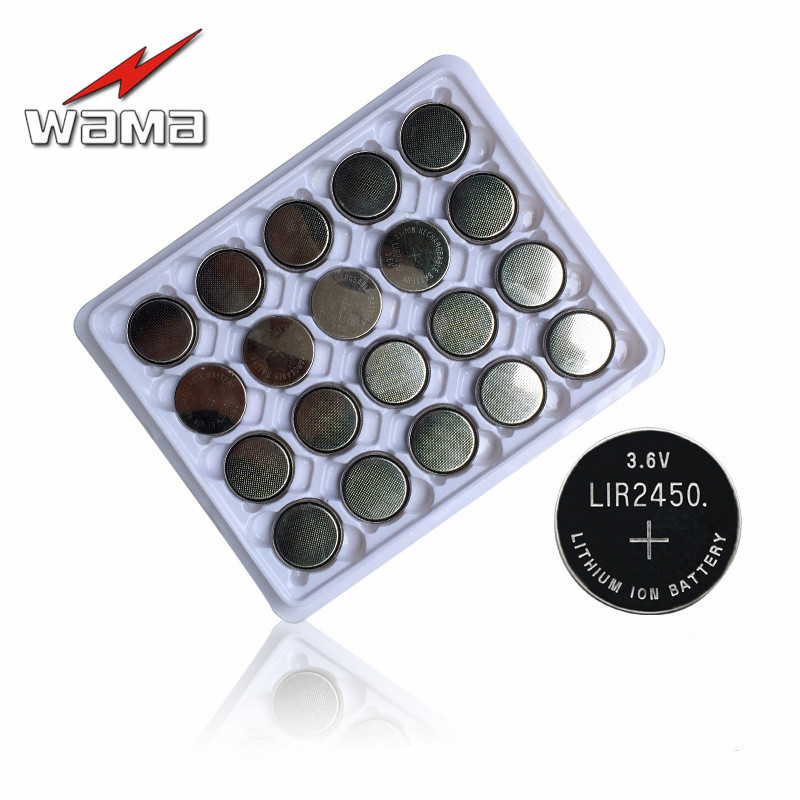 20pcs LIR2450 Rechargeable Battery 3.6V 120mAh Li-ion Button Cell Batteries Replacement CR2450 For Stopwatch Remote Control