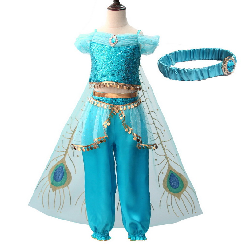 Girls Jasmine Dress Up Kids Halloween Christmas Princess Aladdin Jasmine Costume For Children Belly Dance Dress Indian Disfraces